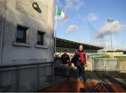 12 January 2020; Galway manager Shane O'Neill arrives prior to the Walsh Cup Semi-Final match between Dublin and Galway at Parnell Park in Dublin. Photo by Harry Murphy/Sportsfile