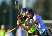 12 January 2020; Charlie McGuckin of UCD in action against Shane Reck of IT Carlow during the Fitzgibbon Cup Round 1 match between UCD and IT Carlow at UCD Billings Park in Belfield, Dublin. Photo by Ben McShane/Sportsfile