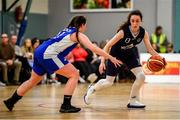 12 January 2020; Sarah Browne of DCU Mercy in action against Kellie Raethorne of Waterford Wildcats during the Hula Hoops U18 Women's National Cup Semi-Final between Waterford Wildcats and DCU Mercy at Parochial Hall in Cork. Photo by Sam Barnes/Sportsfile