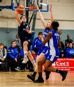 12 January 2020; Emma Carroll of DCU Mercy goes for a lay up despite the attentions of Anna Grogan of Waterford Wildcats during the Hula Hoops U18 Women's National Cup Semi-Final between Waterford Wildcats and DCU Mercy at Parochial Hall in Cork. Photo by Sam Barnes/Sportsfile