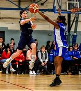 12 January 2020; Emma Carroll of DCU Mercy in action against Bami Olukayode of Waterford Wildcats during the Hula Hoops U18 Women's National Cup Semi-Final between Waterford Wildcats and DCU Mercy at Parochial Hall in Cork. Photo by Sam Barnes/Sportsfile