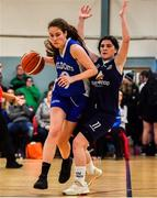12 January 2020; Anna Grogan of Waterford Wildcats in action against Emma Carroll of DCU Mercy during the Hula Hoops U18 Women's National Cup Semi-Final between Waterford Wildcats and DCU Mercy at Parochial Hall in Cork. Photo by Sam Barnes/Sportsfile