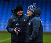 11 January 2020; Dublin manager Dessie Farrell and Sean Murphy, left, before the O'Byrne Cup Semi-Final match between Longford and Dublin at Glennon Brothers Pearse Park in Longford. Photo by Ray McManus/Sportsfile