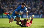 12 January 2020; Robbie Henshaw of Leinster is tackled by Noa Nakaitaci of Lyon during the Heineken Champions Cup Pool 1 Round 5 match between Leinster and Lyon at the RDS Arena in Dublin. Photo by Ramsey Cardy/Sportsfile