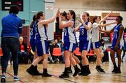12 January 2020; Waterford United Wildcats players celebrate following the Hula Hoops U18 Women's National Cup Semi-Final between Waterford Wildcats and DCU Mercy at Parochial Hall in Cork. Photo by Sam Barnes/Sportsfile