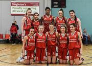 12 January 2020; The Singleton Supervalu Brunell team ahead of the Hula Hoops U18 Women's National Cup Semi-Final between Portlaoise Panthers and Singleton Supervalu Brunell at Parochial Hall in Cork. Photo by Sam Barnes/Sportsfile