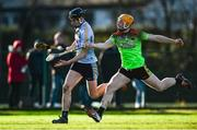 12 January 2020; Ronan Hayes of UCD in action against Podge Delaney of IT Carlow during the Fitzgibbon Cup Round 1 match between UCD and IT Carlow at UCD Billings Park in Belfield, Dublin. Photo by Ben McShane/Sportsfile