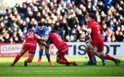 12 January 2020; Robbie Henshaw of Leinster is tackled by Thibaut Regard, left, and Jean-Marcellin Buttin of Lyon during the Heineken Champions Cup Pool 1 Round 5 match between Leinster and Lyon at the RDS Arena in Dublin. Photo by David Fitzgerald/Sportsfile