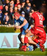12 January 2020; Josh van der Flier of Leinster breaks through the attempted tackle from Noa Nakaitaci of Lyon on his way to scoring his side's second try during the Heineken Champions Cup Pool 1 Round 5 match between Leinster and Lyon at the RDS Arena in Dublin. Photo by David Fitzgerald/Sportsfile