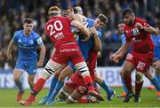 12 January 2020; Garry Ringrose of Leinster is tackled by Felix Lambey of Lyon during the Heineken Champions Cup Pool 1 Round 5 match between Leinster and Lyon at the RDS Arena in Dublin. Photo by Ramsey Cardy/Sportsfile