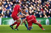 12 January 2020; Garry Ringrose of Leinster is tackled by Hamza Kaabèche, left, and Francisco Gomez Kodela of Lyon during the Heineken Champions Cup Pool 1 Round 5 match between Leinster and Lyon at the RDS Arena in Dublin. Photo by David Fitzgerald/Sportsfile