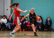12 January 2020; Gillian Wheeler of Portlaoise Panthers in action against Lauryn Homan of Singleton Supervalu Brunell during the Hula Hoops U18 Women's National Cup Semi-Final between Portlaoise Panthers and Singleton Supervalu Brunell at Parochial Hall in Cork. Photo by Sam Barnes/Sportsfile
