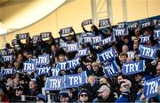 12 January 2020; Leinster supporters hold up BearingPoint try banners as referee Ben Whitehouse adjudges the disallowed try of Scott Fardy during the Heineken Champions Cup Pool 1 Round 5 match between Leinster and Lyon at the RDS Arena in Dublin. Photo by David Fitzgerald/Sportsfile
