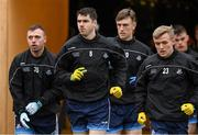11 January 2020; Dublin players Emmett ó Conghaile, 8, Scott Fulham, left, and Diarmaid McLoughlin, 23, of Dublin make their way on to the pitch in advance of the O'Byrne Cup Semi-Final match between Longford and Dublin at Glennon Brothers Pearse Park in Longford. Photo by Ray McManus/Sportsfile