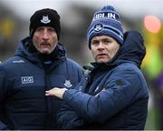 11 January 2020; Dublin manager Dessie Farrell and Mick Galvin, left, during the O'Byrne Cup Semi-Final match between Longford and Dublin at Glennon Brothers Pearse Park in Longford. Photo by Ray McManus/Sportsfile