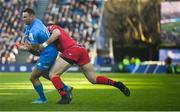 12 January 2020; Dave Kearney of Leinster is tackled by Toby Arnold of Lyon during the Heineken Champions Cup Pool 1 Round 5 match between Leinster and Lyon at the RDS Arena in Dublin. Photo by David Fitzgerald/Sportsfile
