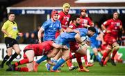 12 January 2020; Robbie Henshaw of Leinster is tackled by Xavier Mignot, left, and Jonathan Pélissié of Lyon during the Heineken Champions Cup Pool 1 Round 5 match between Leinster and Lyon at the RDS Arena in Dublin. Photo by David Fitzgerald/Sportsfile