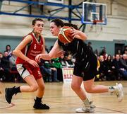 12 January 2020; Sarah Fleming of Portlaoise Panthers in action against Kelly Sexton of Singleton Supervalu Brunell during the Hula Hoops U18 Women's National Cup Semi-Final between Portlaoise Panthers and Singleton Supervalu Brunell at Parochial Hall in Cork. Photo by Sam Barnes/Sportsfile