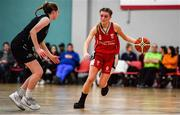12 January 2020; Kelly Sexton of Singleton Supervalu Brunell in action against Grainne O'Reilly of Portlaoise Panthers during the Hula Hoops U18 Women's National Cup Semi-Final between Portlaoise Panthers and Singleton Supervalu Brunell at Parochial Hall in Cork. Photo by Sam Barnes/Sportsfile