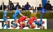 12 January 2020; Josh van der Flier of Leinster scores a try which is subsequently disallowed during the Heineken Champions Cup Pool 1 Round 5 match between Leinster and Lyon at the RDS Arena in Dublin. Photo by David Fitzgerald/Sportsfile