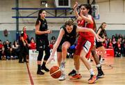 11 January 2020; Grainne O'Reilly of Portlaoise Panthers in action against Mia Finnegan of Singleton Supervalu Brunell during the Hula Hoops Women's Division One National Cup Semi-Final match between Team Tom McCarthy's St Mary's and Portlaoise Panthers at Parochial Hall in Cork. Photo by Sam Barnes/Sportsfile