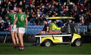 12 January 2020; Johnny Heaney of Galway leaves the field on a medical buggy after picking up an injury in the first half during the FBD League Semi-Final match between Mayo and Galway at Elverys MacHale Park in Castlebar, Mayo. Photo by Piaras Ó Mídheach/Sportsfile