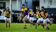 12 January 2020; Jack O'Connor of Wexford in action against Gavin Bailey, 7, and Harry Kehoe of Wexford during the Walsh Cup Semi-Final match between Kilkenny and Wexford at John Lockes GAA Club, John Locke Park in Callan, Kilkenny. Photo by Ray McManus/Sportsfile