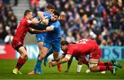 12 January 2020; Robbie Henshaw of Leinster is tackled by Toby Arnold, left, and Etienne Oosthuizen of Lyon during the Heineken Champions Cup Pool 1 Round 5 match between Leinster and Lyon at the RDS Arena in Dublin. Photo by David Fitzgerald/Sportsfile