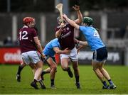 12 January 2020; Johnny Coen of Galway is tackled by James Madden, right, and Cian Boland of Dublin during the Walsh Cup Semi-Final match between Dublin and Galway at Parnell Park in Dublin. Photo by Harry Murphy/Sportsfile