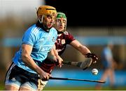 12 January 2020; Eamonn Dillon of Dublin in action against Jack Grealish of Galway during the Walsh Cup Semi-Final match between Dublin and Galway at Parnell Park in Dublin. Photo by Harry Murphy/Sportsfile