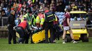 12 January 2020; Fiontán Ó Curraoin of Galway being put on a medical buggy after picking up an injury during the FBD League Semi-Final match between Mayo and Galway at Elverys MacHale Park in Castlebar, Mayo. Photo by Piaras Ó Mídheach/Sportsfile
