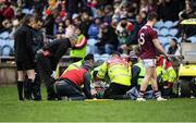 12 January 2020; Fiontán Ó Curraoin of Galway is treated for an injury before being taken off the field on a medical buggy during the FBD League Semi-Final match between Mayo and Galway at Elverys MacHale Park in Castlebar, Mayo. Photo by Piaras Ó Mídheach/Sportsfile