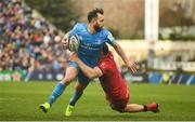 12 January 2020; Jamison Gibson-Park of Leinster is tackled by Jeremie Maurouard of Lyon during the Heineken Champions Cup Pool 1 Round 5 match between Leinster and Lyon at the RDS Arena in Dublin. Photo by David Fitzgerald/Sportsfile