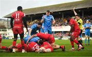 12 January 2020; Andrew Porter of Leinster (hidden) mauls over to score his side's sixth try with help from team-mates during the Heineken Champions Cup Pool 1 Round 5 match between Leinster and Lyon at the RDS Arena in Dublin. Photo by David Fitzgerald/Sportsfile