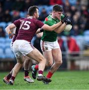12 January 2020; Jordan Flynn in action against Paul Conroy, 15, and Cillian McDaid of Galway during the FBD League Semi-Final match between Mayo and Galway at Elverys MacHale Park in Castlebar, Mayo. Photo by Piaras Ó Mídheach/Sportsfile