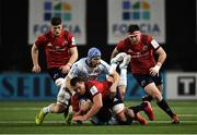 12 January 2020; CJ Stander of Munster is tackled by Wenceslas Lauret and Henry Chavancy of Racing 92 during the Heineken Champions Cup Pool 4 Round 5 match between Racing 92 and Munster at Paris La Defence Arena, in Paris, France. Photo by Seb Daly/Sportsfile