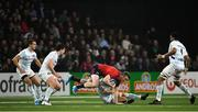 12 January 2020; Chris Farrell of Munster is tackled by Teddy Iribaren of Racing 92 during the Heineken Champions Cup Pool 4 Round 5 match between Racing 92 and Munster at Paris La Defence Arena in Paris, France. Photo by Seb Daly/Sportsfile