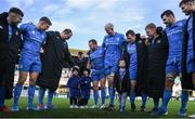 12 January 2020; The Leinster team huddle, with Finn and Cillian Cronin, and Luca Sexton, following the Heineken Champions Cup Pool 1 Round 5 match between Leinster and Lyon at the RDS Arena in Dublin. Photo by Ramsey Cardy/Sportsfile