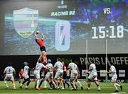 12 January 2020; Jack O'Donoghue of Munster takes possession in a line-out during the Heineken Champions Cup Pool 4 Round 5 match between Racing 92 and Munster at Paris La Defence Arena in Paris, France. Photo by Seb Daly/Sportsfile