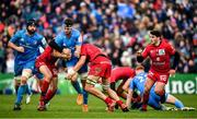 12 January 2020; Caelan Doris of Leinster is tackled by Jean-Marcellin Buttin, left, and Martial Rolland of Lyon during the Heineken Champions Cup Pool 1 Round 5 match between Leinster and Lyon at the RDS Arena in Dublin. Photo by David Fitzgerald/Sportsfile