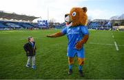 12 January 2020; Leo The Lion with Luca Sexton following the Heineken Champions Cup Pool 1 Round 5 match between Leinster and Lyon at the RDS Arena in Dublin. Photo by Ramsey Cardy/Sportsfile