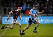 12 January 2020; Danny Sutcliffe of Dublin in action against TJ Brennan of Galway during the Walsh Cup Semi-Final match between Dublin and Galway at Parnell Park in Dublin. Photo by Harry Murphy/Sportsfile