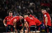 12 January 2020; Munster players in conversation during the Heineken Champions Cup Pool 4 Round 5 match between Racing 92 and Munster at Paris La Defence Arena in Paris, France. Photo by Seb Daly/Sportsfile