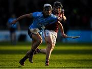 12 January 2020; Cian Boland of Dublin in action against Mark Horan of Galway during the Walsh Cup Semi-Final match between Dublin and Galway at Parnell Park in Dublin. Photo by Harry Murphy/Sportsfile