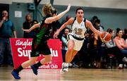 12 January 2020; Lexi Posset of Ulster University in action against Eimear Máirtín of Trinity Meteors during the Hula Hoops Women's Division One National Cup Semi-Final between Ulster University and Trinity Meteors at Parochial Hall in Cork. Photo by Sam Barnes/Sportsfile