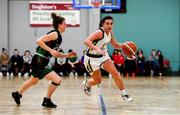 12 January 2020; Lexi Posset of Ulster University in action against Edel Thornton of Trinity Meteors during the Hula Hoops Women's Division One National Cup Semi-Final between Ulster University and Trinity Meteors at Parochial Hall in Cork. Photo by Sam Barnes/Sportsfile