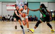 12 January 2020; Lexi Posset of Ulster University in action against Edel Thornton, left, and Lauren Grigsby of Trinity Meteors during the Hula Hoops Women's Division One National Cup Semi-Final between Ulster University and Trinity Meteors at Parochial Hall in Cork. Photo by Sam Barnes/Sportsfile