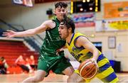 12 January 2020; Jake Owen of UCD Marian in action against Gary Morrissey of Portlaoise Panthers during the Hula Hoops U20 Men's National Cup Semi-Final between UCD Marian and Portlaoise Panthers at Neptune Stadium in Cork. Photo by Brendan Moran/Sportsfile