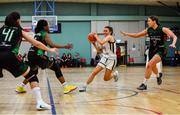 12 January 2020; Erin Maguire of Ulster University in action against, from left, Jade Daly, Lauren Grigsby and Niamh Kenny of Trinity Meteors during the Hula Hoops Women's Division One National Cup Semi-Final between Ulster University and Trinity Meteors at Parochial Hall in Cork. Photo by Sam Barnes/Sportsfile