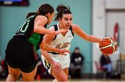 12 January 2020; Lexi Posset of Ulster University in action against Niamh Kenny of Trinity Meteors during the Hula Hoops Women's Division One National Cup Semi-Final between Ulster University and Trinity Meteors at Parochial Hall in Cork. Photo by Sam Barnes/Sportsfile